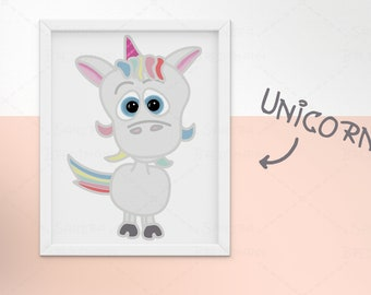 cute Unicorn Baby • Nursery room • Baby shower • present • printable • digital file • children • Party • girly • interior • wall decor •