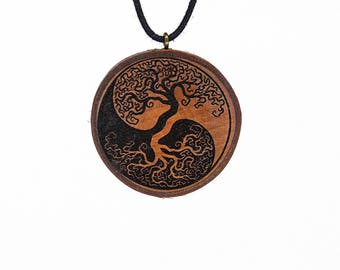 "Soul slices ""Tree of life 4"" wood necklace vintage * Ethno * hippie * MUST have * statement * Yin Yang"