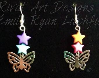 Silver Butterflies and Stars Drop Earrings
