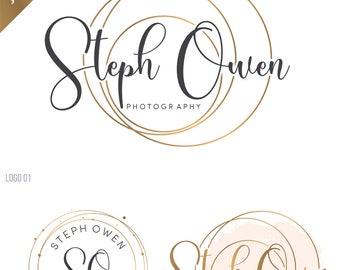 Premade branding kit, business logo and watermark, Photography logo, script logo, wedding logo, watercolor logo, business logo stamp, 097