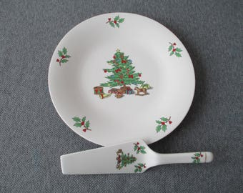 Vintage Holiday Hostess Cake Plate With Server, Christmas Tree Cake Plate, Christmas Cake Plate,