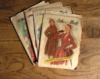 Vintage French magazines: 4 copies 'Le Petit Echo de la Mode', 1949/50