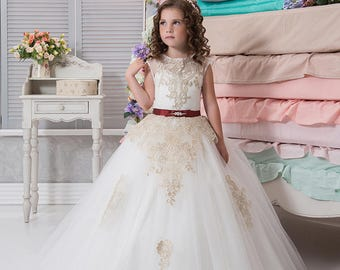 Ivory Flower Girl Dress • White Flower Girl Dress • Princess Dress • Girls Tulle Gown • Fairy Princess Gown • Girls dress pattern