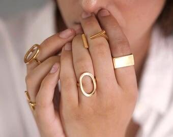 MURMUR: Handmade,  minimialist, thick band ring. 24K yellow gold plated
