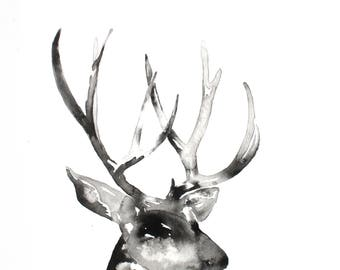 Deer Wall Art, Black and White Wall Art, Ink Deer Painting, Black and White Nature Art Print, Minimalist Art, Stag, Buck Silhouette