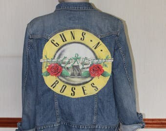 Gap Denim Jacket customised with Guns and Roses Logo and Lace