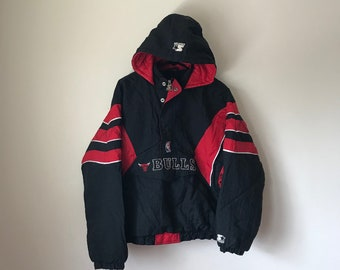 Vintage Chicago Bulls Starter Jacket Pullover NBA fashion streetwear 90s hip hop clothing aesthetic