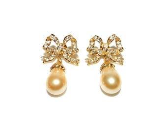 Vintage Gold Toned Bow w/ Clear Rhinestone & Teardrop Pearl Pierced Earrings