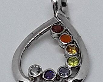 Sterling siver chakra drop pendant