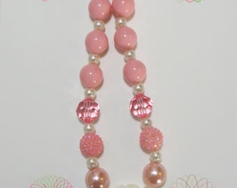 Girl Ivory Flower Chunky Bubblegum Necklace, Girl Chunky Necklace, Girls Jewelry, Toddler Necklace, Chunky Bead Necklace
