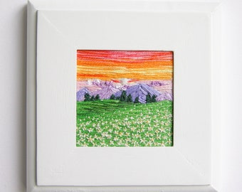 Spring Scenery | Handmade | Wall Art | Home Decor | Embroidery | Flowers | Modern Embroidery | Textile Artwork | Landscape | Canvas