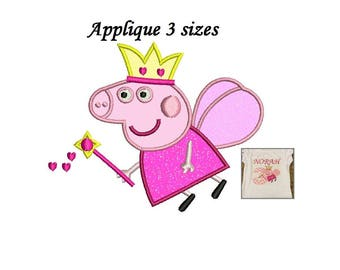 Peppa Pig Applique Design - 3,4,5 inch size Peppa Pig Applique - Machine Embroidery - INSTANT DOWNLOAD