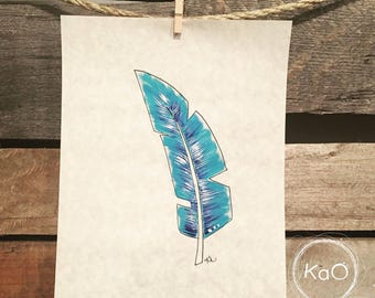 Acrylic painting on parchment - blue feather illustration