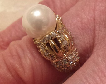 Majorca Pearl & White Topaz Gemstone Sterling Silver and Bronze Overlay Ring  9mm. + .5 ct. Size - 7