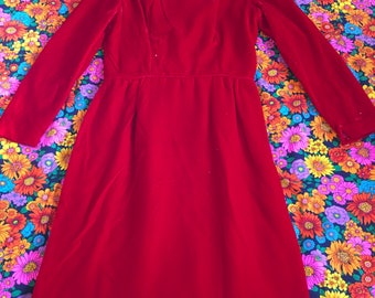 Vintage Red Velvet Long Sleeve Bombshell Pinup Wiggle Sheath Dress 50s