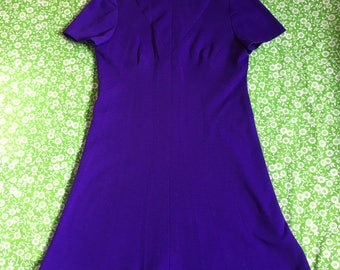 Vintage Deep Bright Purple Short Sleeve Funnel Neck Mod Mini Dress 1960s Twiggy