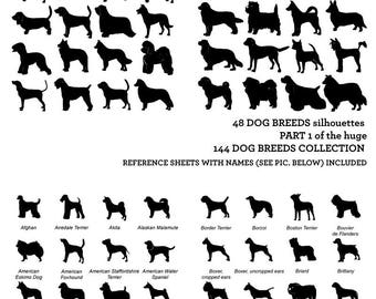 Dog Breed Silhouettes Vector Digital Cut Files Svg Dfx Eps Png Silhouette SCAL Cricut Printable Download Paper Vinyl Die Cutting 244a