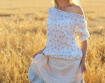 Cotton blouse with bluebells and forget-me-nots