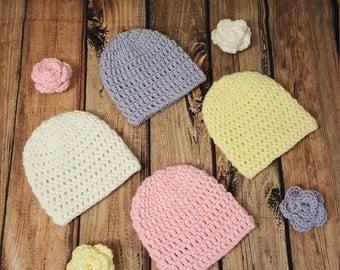 Flower Beanie Baby Hat Set
