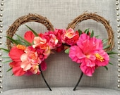 Handmade Tropical Moana themed Minnie Ears perfect for your next Disney trip!