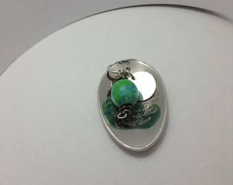 Silver poon bowl pendant with aqua wooden bead