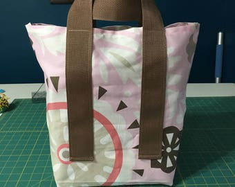 Shopping Tote in Pink and Tan