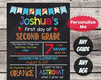 First Day of SECOND GRADE Sign First Day of School sign First Day of School Chalkboard Printable Personalized Back to School Sign ANYgrade#5