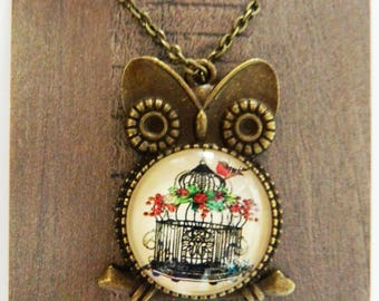 Owl of Birds Necklace