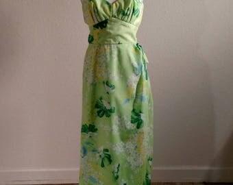 1970's Hawaiian, mock wrap, tiki, maxi, summer dress