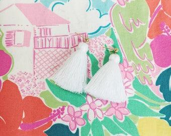 Short Trendy Tassel Earrings, Fringe Tassel Earrings, White