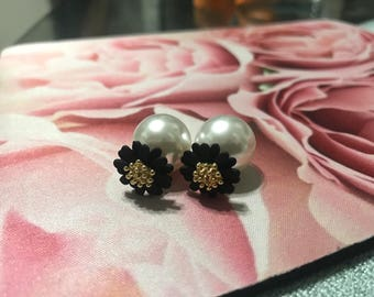 Black and white floral pearl earrings