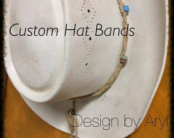 Custom Brain Tanned Leather Hat Bands with 200 year old Glass Indiv. Hand Made Trade Beads