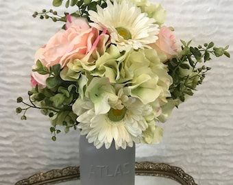 Roses, Daisies, and Hydrangeas Artificial Flower Bouquet (Pink, Green, and White)