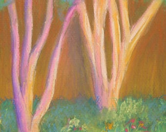 Majestic Crepe Myrtle; 6 x 6 in., Pastel on paper; Small Painting; Original Pastel Painting