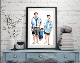Custom made illustrated family/friends portrait