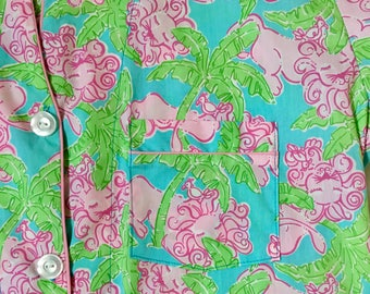Lilly Pulitzer Lounging' Lions Raspberry Bee Hospital Gown Patient Gown size MEDIUM