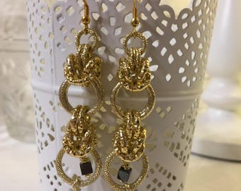 Chainmail earrings with crystal drop