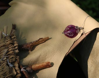 Purple Stone Necklace Wire Wrapped Flower