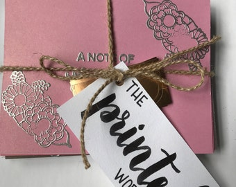 Blank embossed thank you cards in shades of pink - set of 12