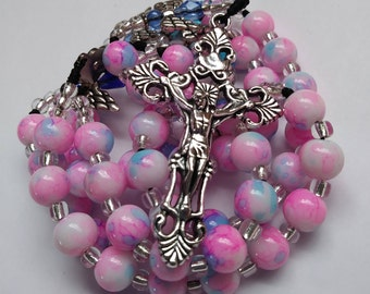 Catholic pink rosary,pink rosary,angels,angel rosary, confirmation,first communion,roesaries made with cord,roman catholic rosary