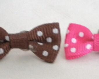 Polkadot bow earrings in pink or brown