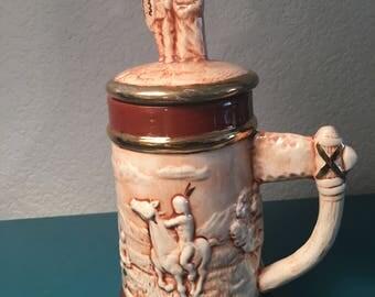 Vintage Native American hand painted beer stein