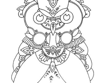 Owl Fine Art Therapy Coloring Page Adult Wabi Sabi