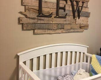 Wooden Pallet Sign - Customizable with monogram, initials, etc