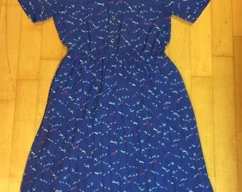 Beautiful Japanese vintage blue bird print dress - sundress - summer dress - shirt dress