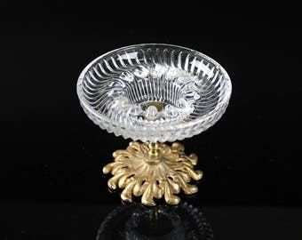 Gorgeous glass Ashtray dish with Brass Pedestal