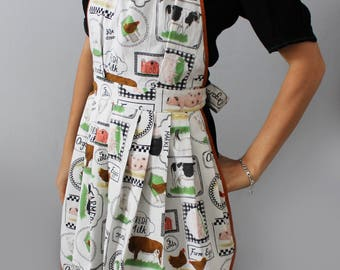 Great kitchen apron, farm animals