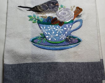 "Embroidered Tea Towel ""Junco and Cosy Coffee"""