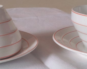 Lovely earthenware tea bowls ans saucers