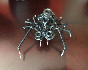 Welded Art Metal Art Black Widow Spider Hand Crafted Recycled